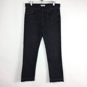 Free People Black Button Fly Cropped Ankle Jeans